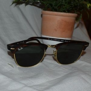 Brown & Gold Ray-Ban Clubmaster Sunglasses